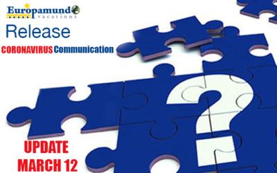 Coronavirus Communication Release – Europamundo Vacations – Update March 12